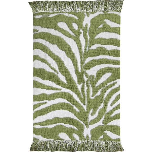 Graham And Green Zebra Rug: Shop Animal Print Green/ White Zebra Rug
