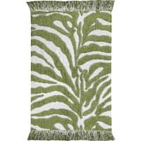 Animal Print Green/ White Zebra Rug  (4' X 6')