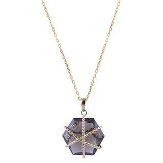 14k Yellow Gold Hexagon-cut Smokey Quartz Wire Pendant