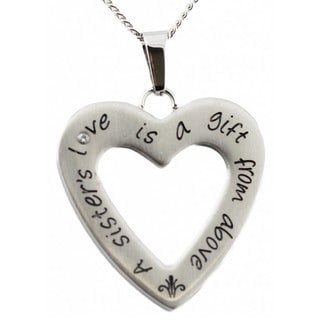 Stainless Steel Cubic Zirconia 'A Sister's Love' Heart-shaped Necklace