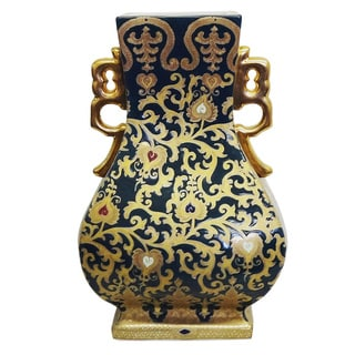 Green and Gold Scrolls Porcelain Gourd Square Vase