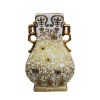 White and Gold Scrolls Porcelain Square Vase