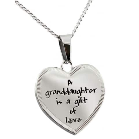 Stainless Steel Cubic Zirconia 'Gift of Love' Heart Necklace