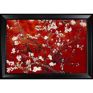 Vincent Van Gogh Branches Of An Almond Tree In Blossom (Artist Interpretation in Red) Hand Painted Framed Canvas Art