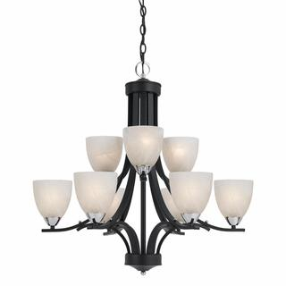 Lumenno Transitional 9-light Black Chandelier with Chrome Accents