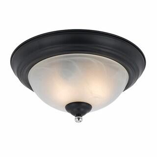 Lumenno Transitional 2-light Black with Chrome Accents Flush Mount
