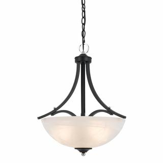 Lumenno Transitional 3-light Black Pendant with Chrome Accents