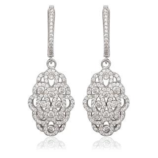 La Preciosa Sterling Silver Micropave CZ Formal Dangle Earrings