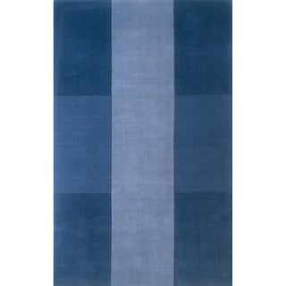 Manhattan Blue Hand-loomed Wool Rug (2'3 x 3'9)