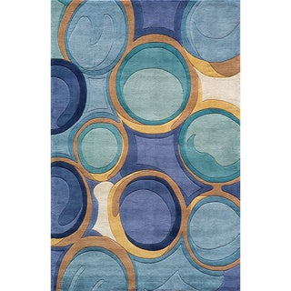 Momeni New Wave Blue Hand-Tufted and Hand-Carved Wool Rug (2' X 3')