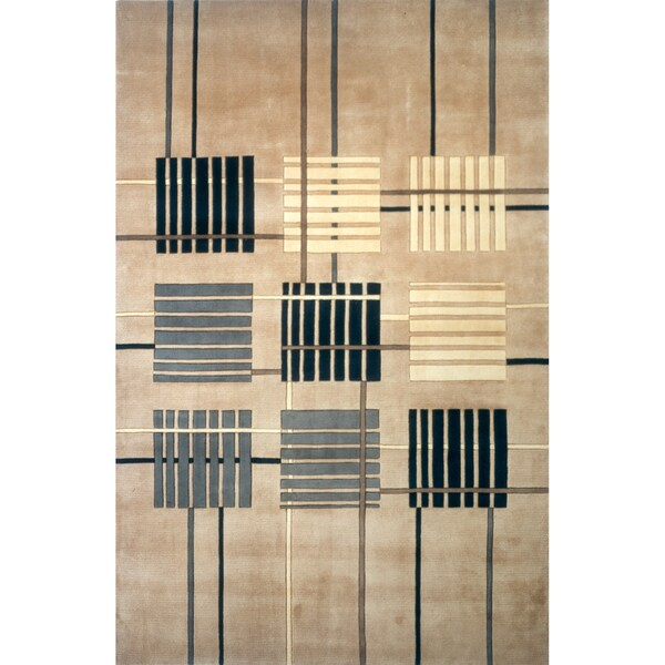 Momeni New Wave Sand Hand-Tufted and Hand-Carved Wool Rug (2' X 3')