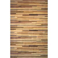 Momeni New Wave Natural Hand-Tufted and Hand-Carved Wool Rug - 2' x 3'