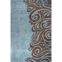 Momeni New Wave Turquoise Hand-Tufted and Hand-Carved Wool Rug (2' X 3')