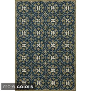 Momeni Veranda Blue Moroccan Tile Indoor/Outdoor Rug (2' X 3')