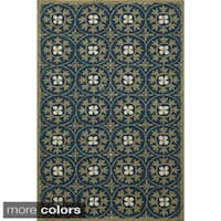 Momeni Veranda Blue Moroccan Tile Indoor/Outdoor Rug (2' X 3')