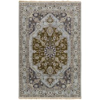 Hand-Knotted Tim Border New Zealand Wool Area Rug - 8' x 11'