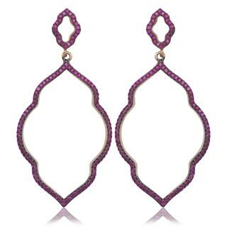 La Preciosa Rose-plated Sterling Silver Pink CZ Open Earrings