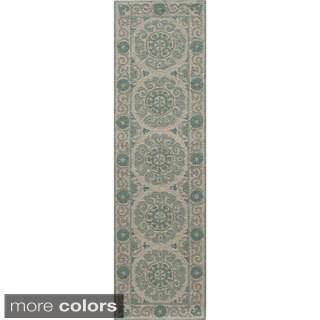 Momeni Suzani Hook Aqua Hand-Hooked Wool Runner Rug (2'3 X 8')