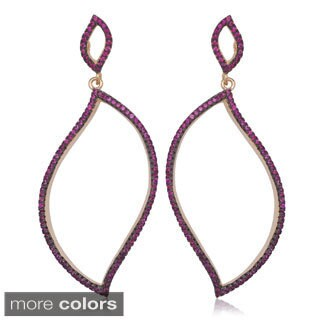 La Preciosa Rose-plated Sterling Silver Colored CZ Open Drop Earrings