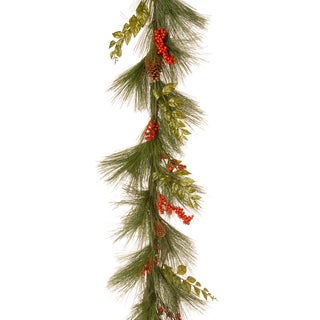 6-foot Mixed Bristle Pine Garland with Red Berries and Cones