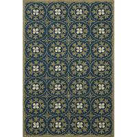Momeni Veranda Blue Moroccan Tile Indoor/Outdoor Rug (5' X 8') - 5' x 8'