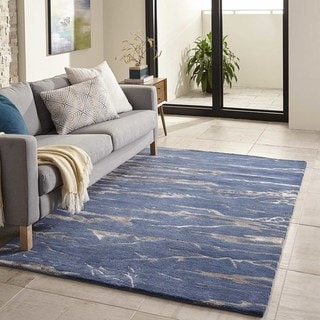 Momeni Zen Cobalt Hand-Tufted Wool and Viscose Rug (5' X 8') - 5' x 8'