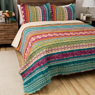 Greenland Home Fashions Southwest BoHo Cotton 3-piece Quilt Set|https://ak1.ostkcdn.com/images/products/10002434/P17151389.jpg?impolicy=medium