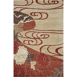 Hand-tufted Orient Dynasty Red Wool Rug (3'6 x 5'6)