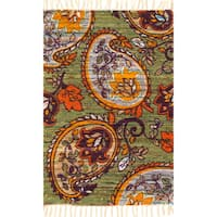 Flatweave Maria Green Orange Paisley Flower Rug (1'8 x 3'0)