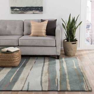 Banyan Handmade Abstract Blue/ Beige Area Rug (2' X 3')