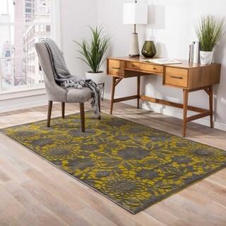 Elektra Floral Yellow/ Gray Area Rug (2' X 3')