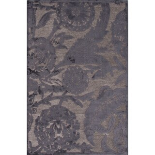 Machine Made Floral Pattern Grey\Gray (2x3) Area Rug