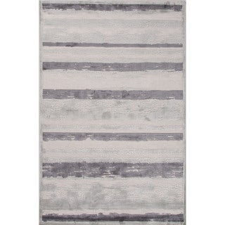 Artesia Stripe Gray/ Silver Area Rug - 2' x 3'