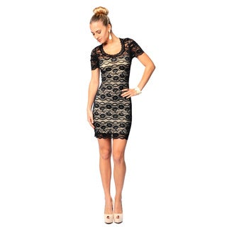 Sara Boo Women's Black Lace Overlay Bodycon Dress (Small)