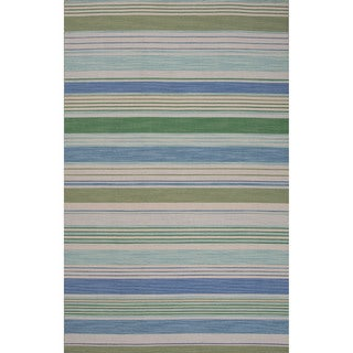 Handmade Stripes Blue Area Rug (8' X 10')