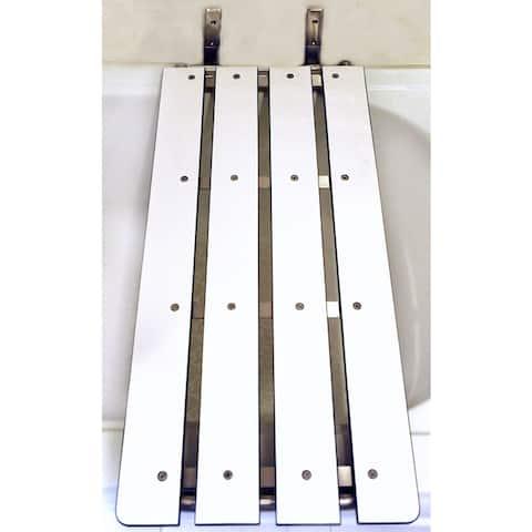 CSI Bathware 33 in. W x 15 in. D Swing Down Tub Seat with White Phenolic Slats