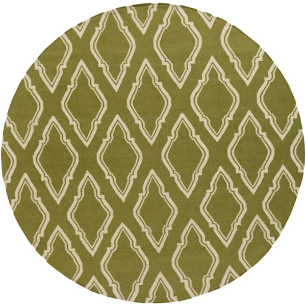 Hand-Woven Bourne Morrocan Trellis Wool Area Rug (8' Round) - 8'