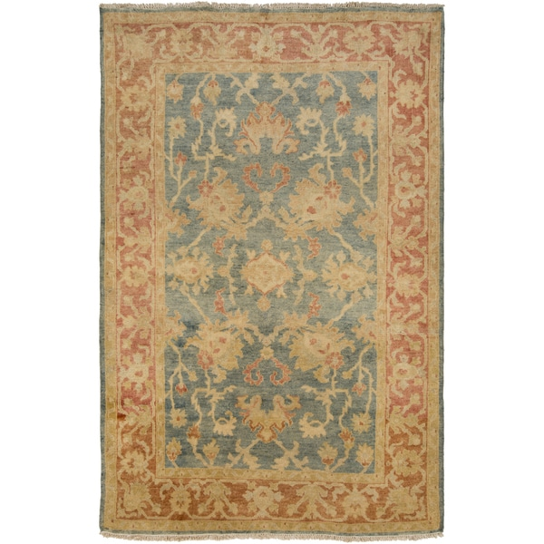 Hand-Knotted Sallie Border New Zealand Wool Area Rug - 9' x 13'