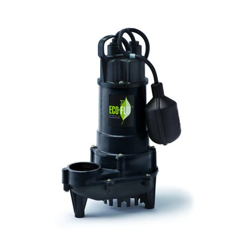 Eco-Flo ECD75W Cast Iron Submersible 3/4 HP 6300 GPH Sump Pump with Wide Angle Switch