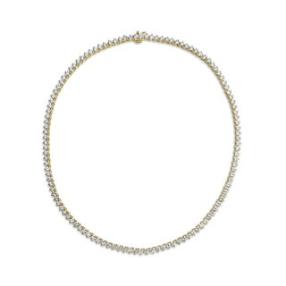 SummerRose 18k Yellow Gold 15 2/5ct TDW Diamond 3-prong Tennis Necklace (H-I, VS1-VS2)