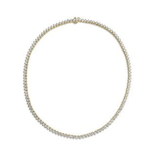 SummerRose 18k Yellow Gold 15 2/5ct TDW Diamond 3-prong Tennis Necklace