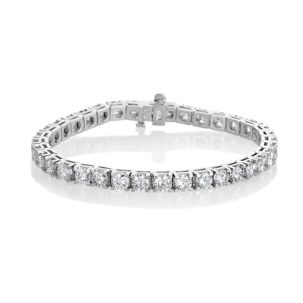 Womens 14K White Gold Finish 4 CT Marquise Cut Diamond Tennis Bracelet 7 Inches