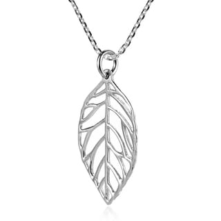 Contempory Leaf Outline .925 Sterling Silver Necklace (Thailand)
