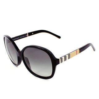 Burberry Women's BE4178 300111 Black Plastic Round Sunglasses