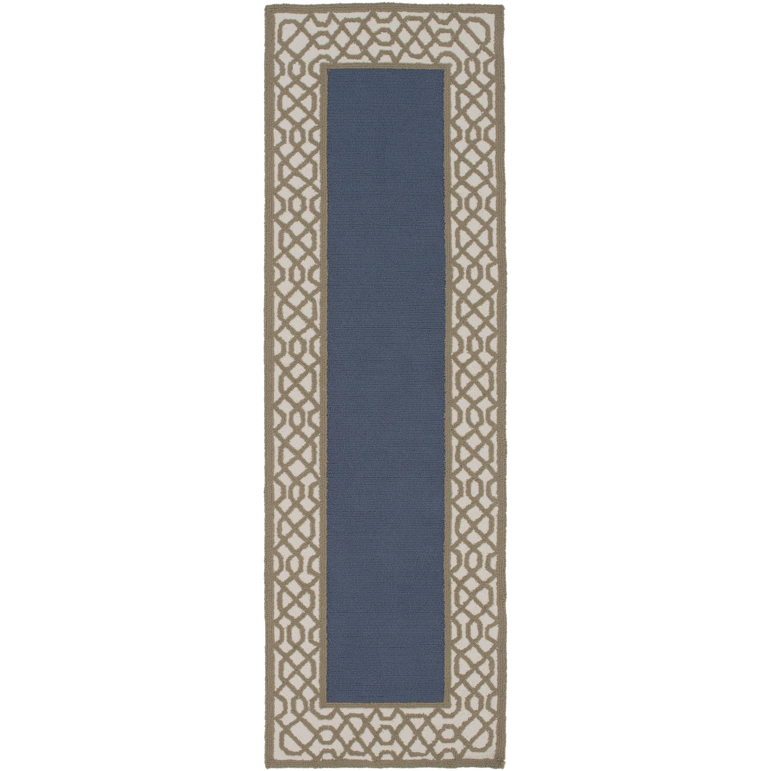 Oriental Hand-Hooked Ludlow Border Rug (2'6 x (Beige-(2'6...