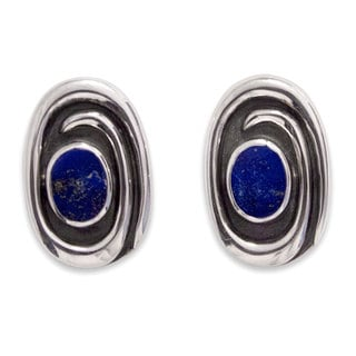 Handcrafted Sterling Silver 'Serenity' Lapis Lazuli Earrings (Mexico)