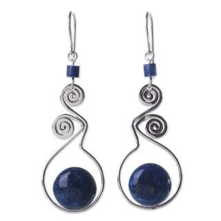 Sterling Silver 'Pendulum of Time' Lapis Lazuli Earrings (Peru)