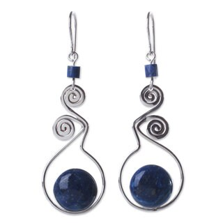 Handmade Sterling Silver 'Pendulum of Time' Lapis Lazuli Earrings (Peru)