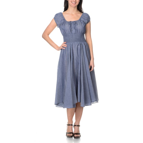 c36fd92985 Shop Chelsea & Theodore Women's Denim Peasant Dress - Free Shipping ...