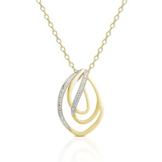 Finesque Gold over Sterling Silver Diamond Accent Twisted Design Necklace